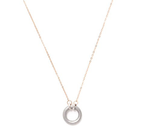 peacebomb and rose gold circle necklace