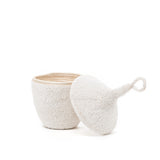 white beaded lidded basket maeree