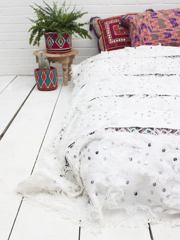 White and Kilim Moroccan Wedding Blanket