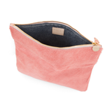 clare v blush hair-on foldover clutch at maeree