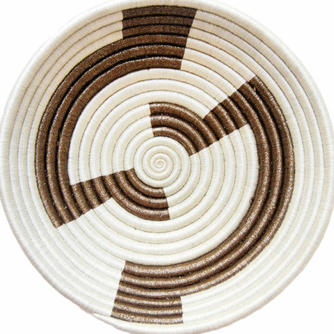 Indego Africa White and Gold Plateau Basket at maeree
