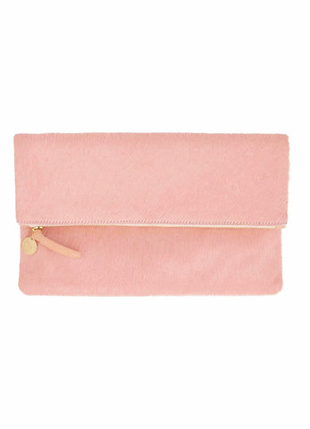 clare v foldover clutch blush hair-on at maeree