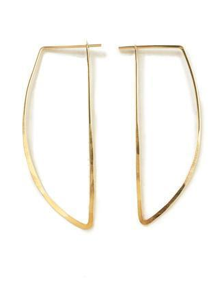 satomi studios gold curve peak hoop earrings at maeree