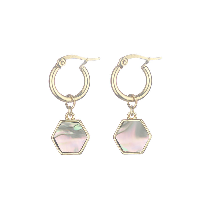 Mini Hoop Abalone Earrings