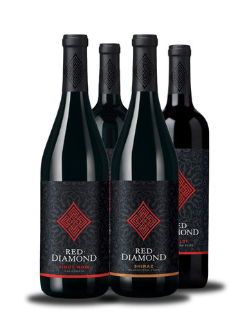 4 Botellas de Red Diamond Pinot Noir, Cabernet Sauvignon, Shiraz & Merlot