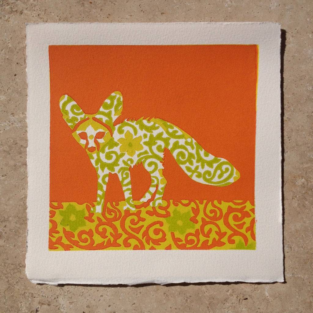 Limited Edition Print Signed Reduction Linocut Fennec Fox VIII