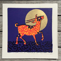 Limited Edition Print Signed Gilded Linocut Antelope XII