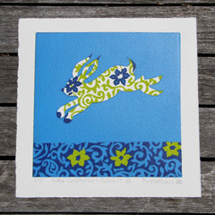Limited Edition Print Signed Reduction Linocut Rabbit III