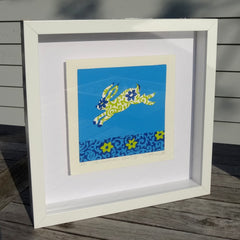 Limited Edition Print Signed Reduction Linocut Rabbit III framed