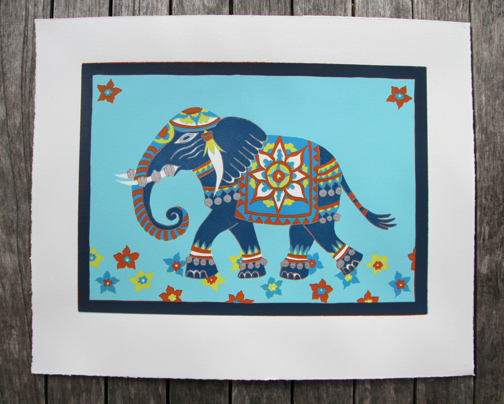 Limited Edition Print Signed Reduction Linocut Elephant II