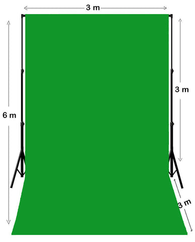 3m W x 6m H Chroma Key Green Photography Muslin Backdrop with Backdrop Stand