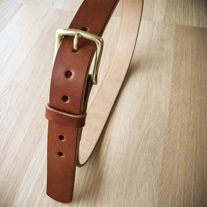 Brown oak bark tanned leather belt