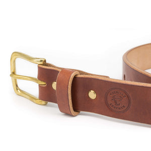 Brown Devon oak bark tanned leather belt with brass hardware
