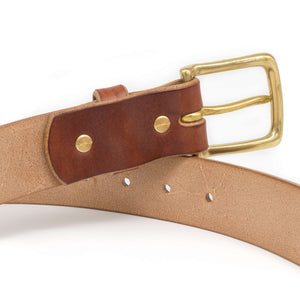 Oak bark tanned leather belt, handmade,sold brass