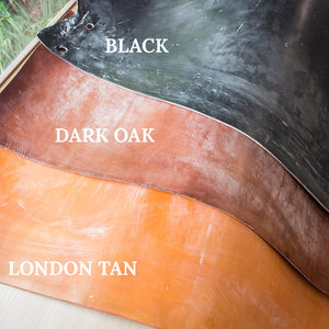 Oak bark tanned leather in London Tan, Dark Oak and Black