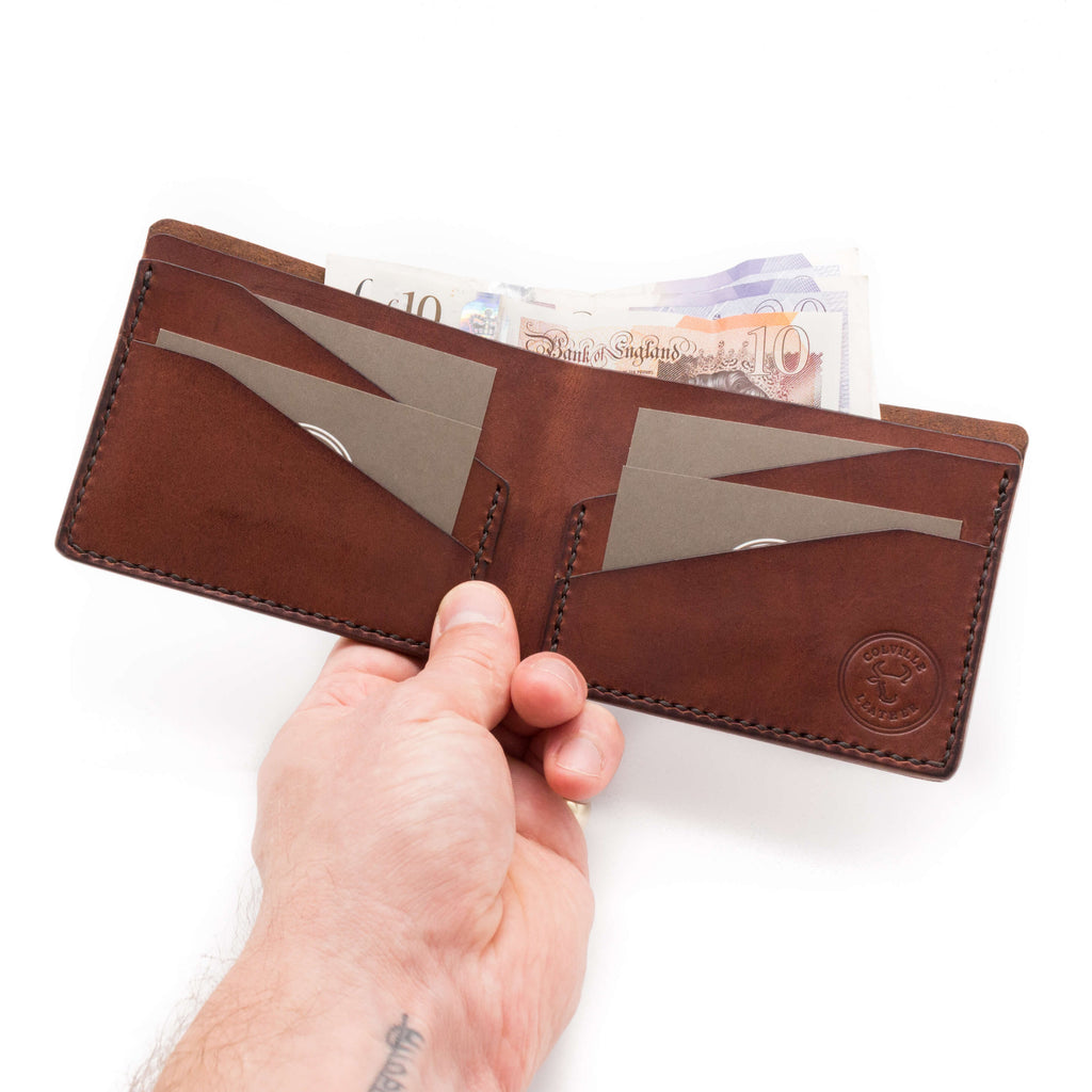 Hand holding a leather wallet