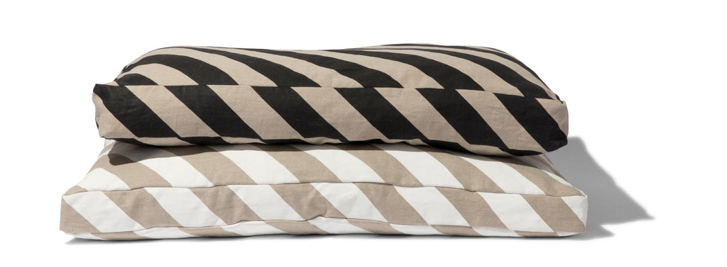 Linen Diagonal Stripe Mattress Dog Bed
