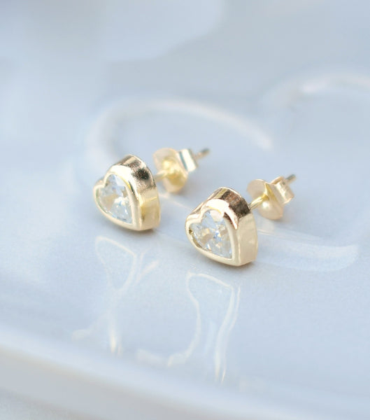 9ct Gold Bezel Set Cubic Zirconia Heart Earrings, earrings - Katherine Swaine