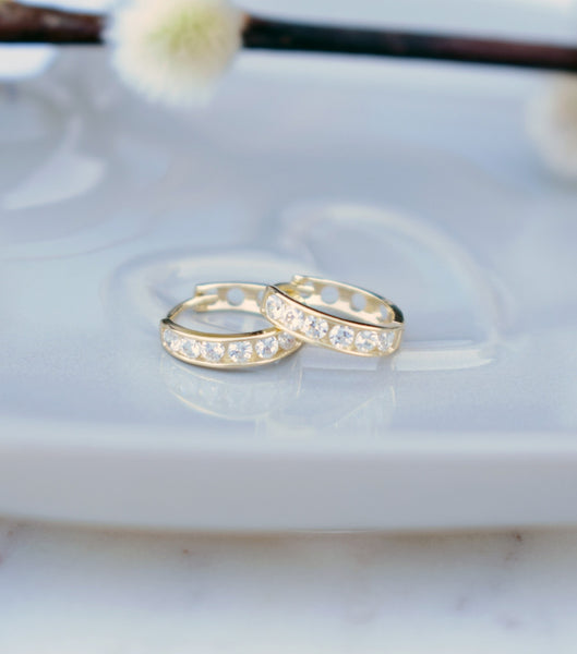 9ct Gold Channel Set Cubic Zirconia Hoop Earrings, earrings - Katherine Swaine