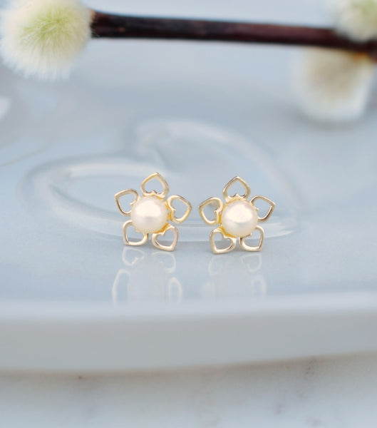 9ct Gold Flower Of Hearts Pearl Studs, earrings - Katherine Swaine