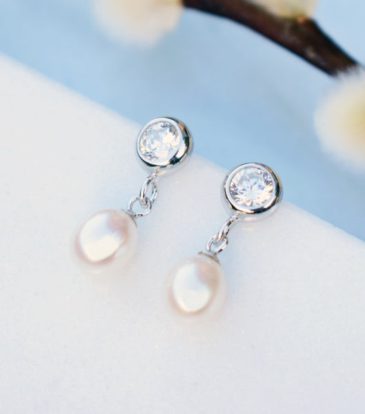 Bezel Cubic Zirconia And Pearl Drop Earrings, earrings - Katherine Swaine