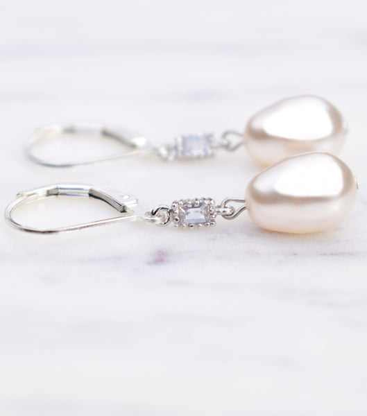 Deco Inspired Pearl Drop Earrings, earrings - Katherine Swaine