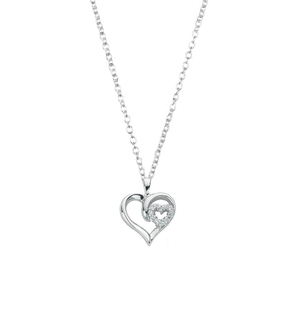 Double Heart Silver Pendant Necklace, Necklace - Katherine Swaine