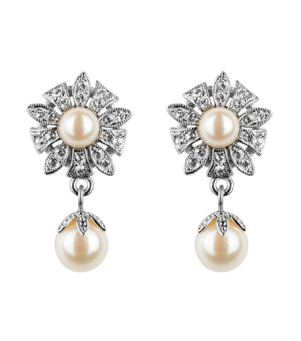 Antique Style Flower Pearl Clip On Earrings, earrings - Katherine Swaine
