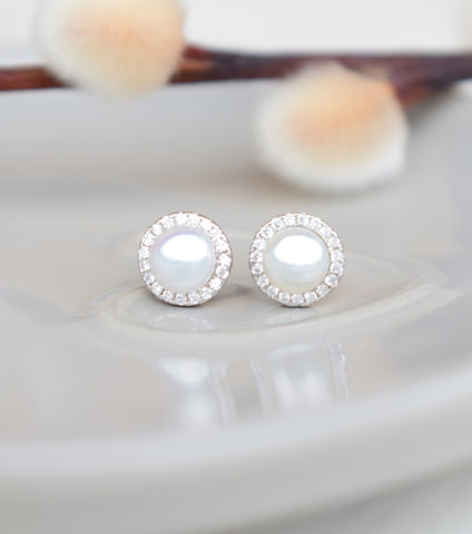 Freshwater Pearl Stud Earrings With Cubic Zirconia, earrings - Katherine Swaine