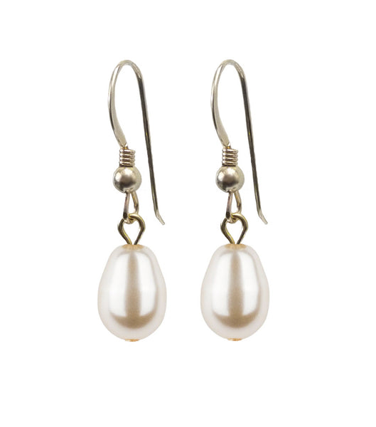 Gold Teardrop Pearl Hook Earrings, earrings - Katherine Swaine