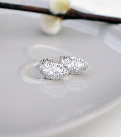 Marquise Cubic Zirconia Stud Earrings, earrings - Katherine Swaine