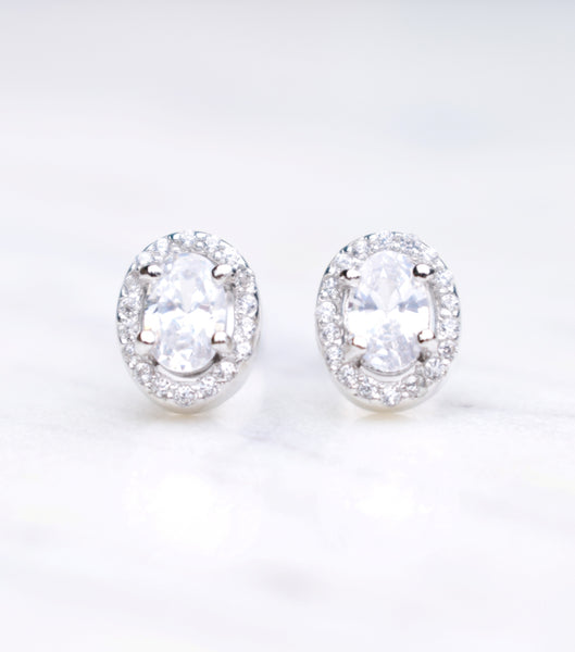 Oval Halo Cubic Zirconia Stud Earrings, earrings - Katherine Swaine