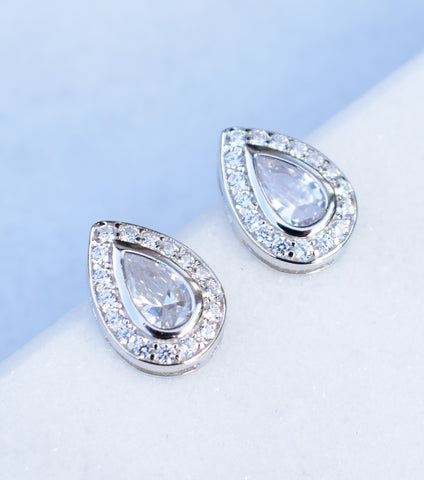Silver Pear Shaped Pave Stud Earrings, earrings - Katherine Swaine