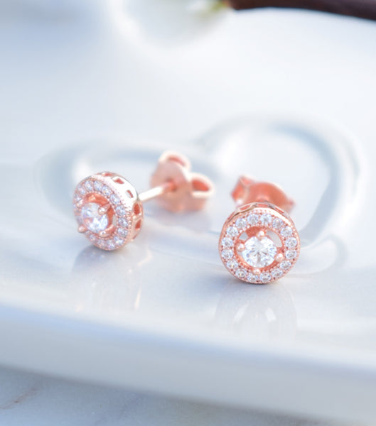 Rose Gold Cubic Zirconia Stud Earrings, earrings - Katherine Swaine