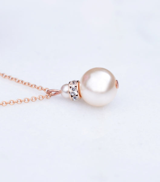 Rose Gold Crystal And Pearl Pendant Necklace, Necklace - Katherine Swaine