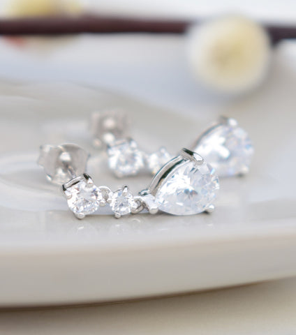 Silver Cubic Zirconia Teardrop Earrings, earrings - Katherine Swaine