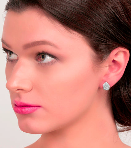 Teardrop Cubic Zirconia Stud Earrings, earrings - Katherine Swaine