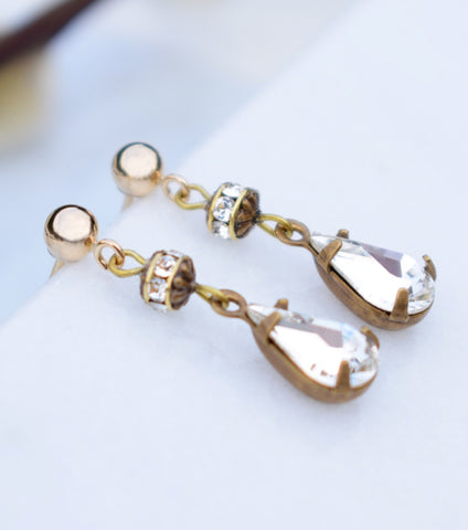 Vintage Inspired Pear Cut Crystal Drop Earrings, earrings - Katherine Swaine