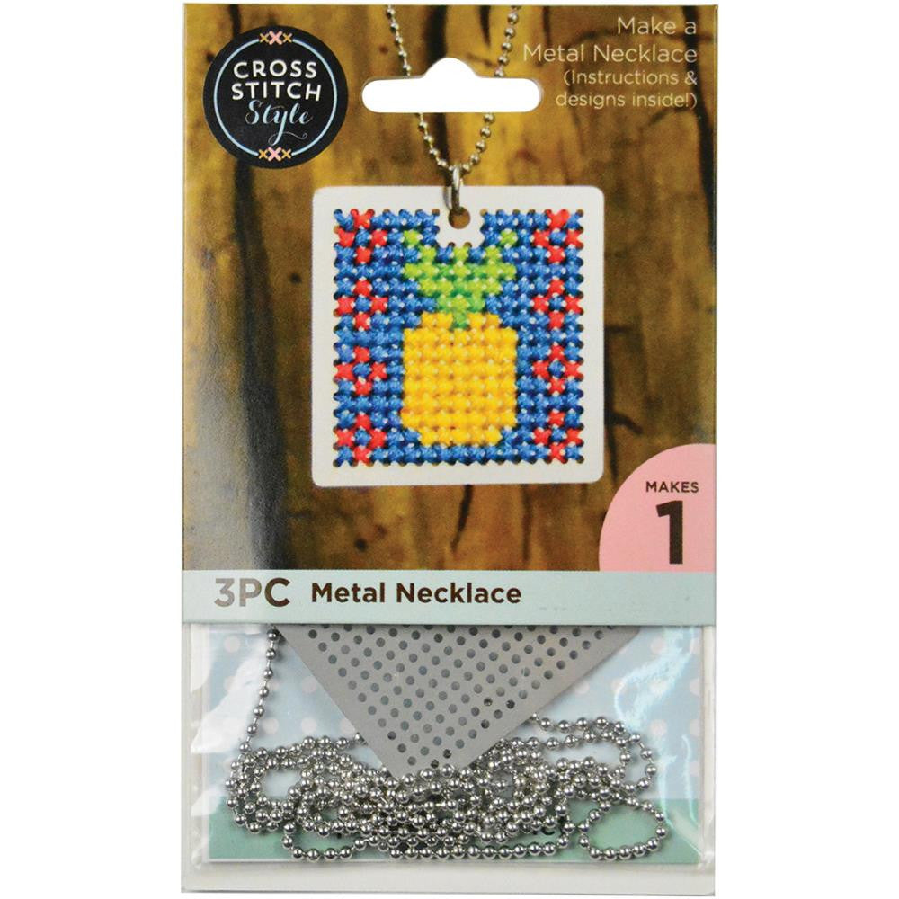 Metal Necklace Punched For Cross Stitch - Square w/Ball Chain