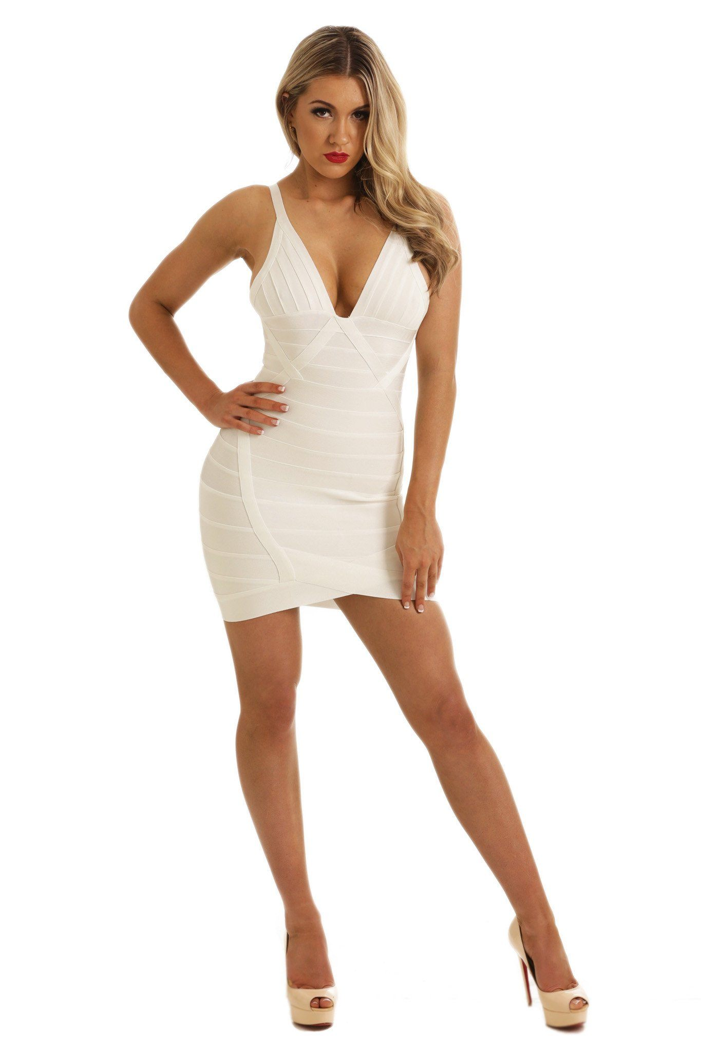 Stylish mini bandage dress in white colour featuring deep V neck and V arched hem