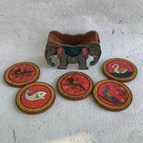 Birds Pattachitra Hand Painted Coaster Set