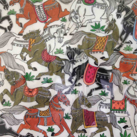 Horses - Pattachitra on silk