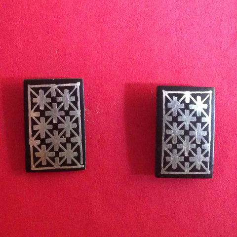 Bidri Cufflinks Rectangular With Star Work