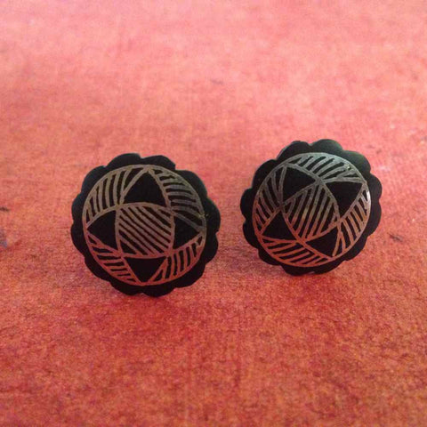 Bidri Cufflinks Large With Floral Work