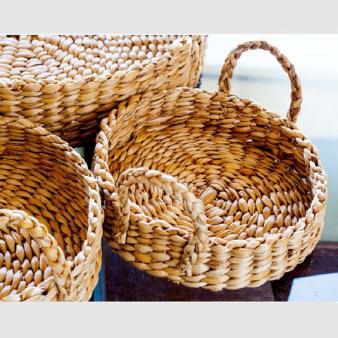 Banana Fiber Round Tray With Braided Handles Large