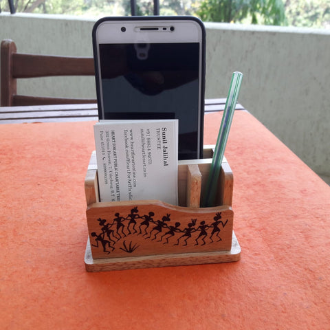 Small Pen Stand With Card & Mobile Holder