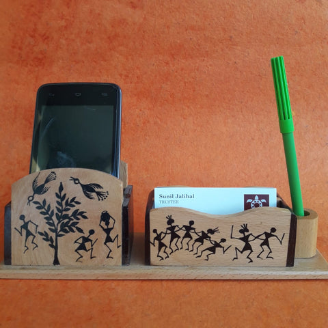 Wood Pen Stand With Card & Mobile Holder