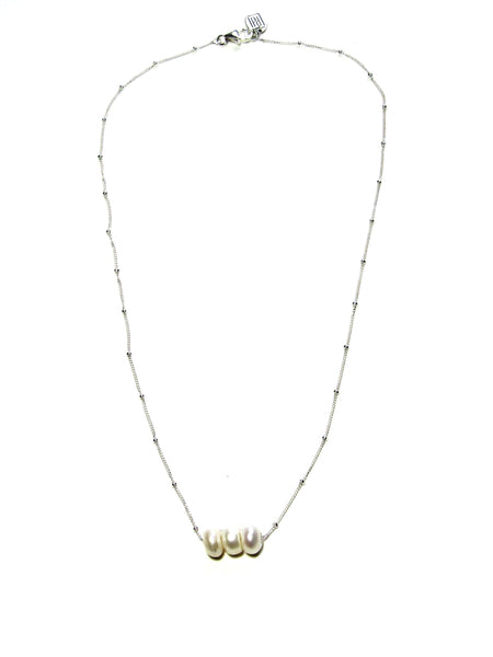 Keepsake Necklace - White Pearls