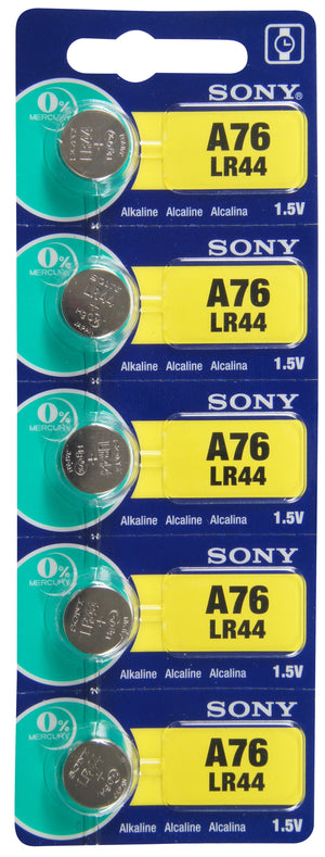 Image of front of Sony LR44 Alkaline Battery 1.5V TearStrip = A76 / AG13
