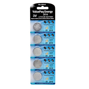 Image of ValuePaq Energy 2016 3 Volt Lithium Coin Cell 5 pack - CR2016